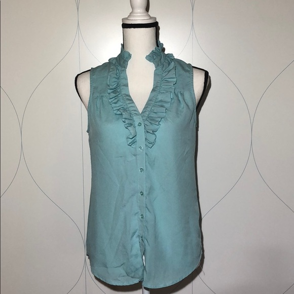 NY&Co ruffle button down tank blouse blue Small
